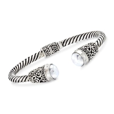 Balinese 10-10.5mm White Cultured Pearl Cuff Bracelet in Sterling Silver