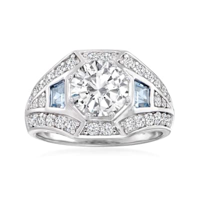 2.62 ct. t.w. CZ and .50 ct. t.w. Simulated Aquamarine Ring in Sterling Silver
