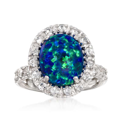 Blue Synthetic Opal and 1.10 ct. t.w. White Topaz Ring in Sterling Silver