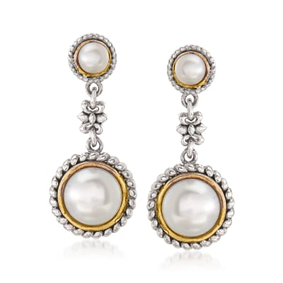 Cultured Pearl Flower Drop Earrings in Sterling Silver and 14kt Yellow Gold