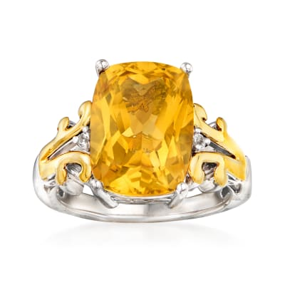 6.75 Carat Citrine Ring with White Topaz Accents in Sterling Silver and 14kt Yellow Gold
