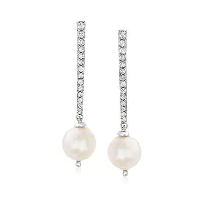 10mm Cultured Pearl and .38 ct. t.w. White Topaz Drop Earrings in Sterling Silver