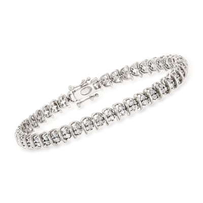 2.00 ct. t.w. Diamond Swirl-Link Tennis Bracelet in Sterling Silver