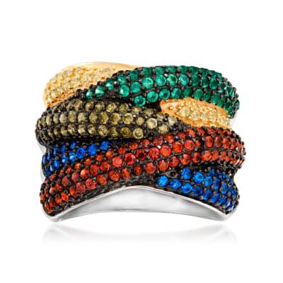 1.70 ct. t.w. Multicolored CZ Crisscross Ring in Sterling Silver