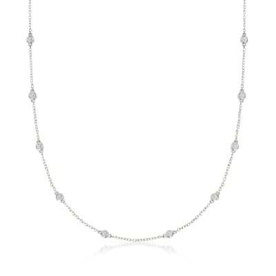 1.00 ct. t.w. Bezel-Set Diamond Station Necklace in 14kt White Gold
