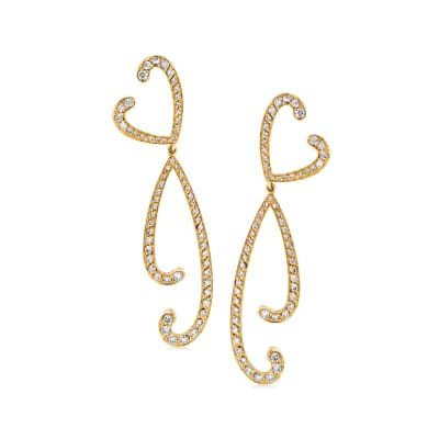 C. 1990 Vintage Io Si 1.65 ct. t.w. Diamond Drop Earrings in 18kt Yellow Gold