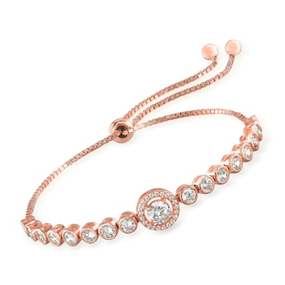 2.10 ct. t.w. CZ Bolo Bracelet in 18kt Rose Gold Over Sterling