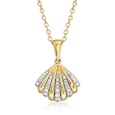 .12 ct. t.w. Diamond Shell Pendant Necklace in 14kt Yellow Gold