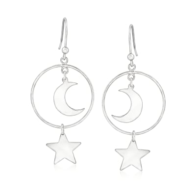 Italian Sterling Silver Moon and Star Drop Earrings
