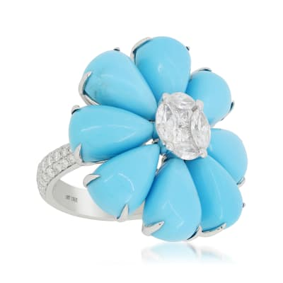 Turquoise and 1.47 ct. t.w. Diamond Flower Ring in 18kt White Gold