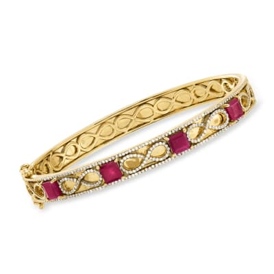 4.00 ct. t.w. Ruby and 1.00 ct. t.w. White Zircon Infinity Bangle Bracelet in 18kt Gold Over Sterling