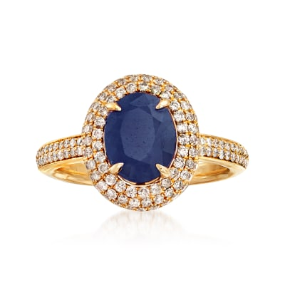 2.60 Carat Sapphire and .65 ct. t.w. Diamond Halo Ring in 14kt Yellow Gold