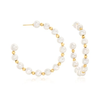 6-7mm Cultured Pearl C-Hoop Earrings with 14kt Yellow Gold