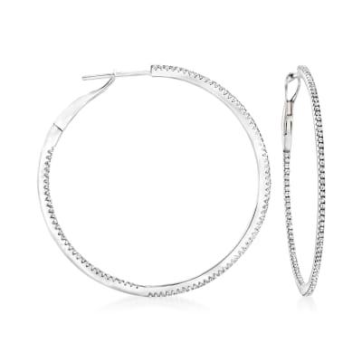 .54 ct. t.w. Diamond Inside-Outside Hoop Earrings in 14kt White Gold