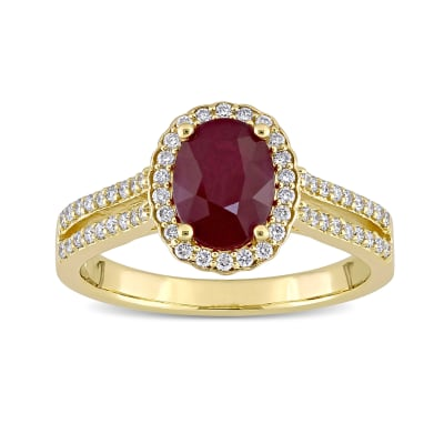 1.40 Carat Ruby and .33 ct. t.w. Diamond Ring in 14kt Yellow Gold