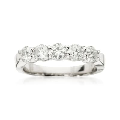 1.00 ct. t.w. 5-Stone Diamond Wedding Ring in 14kt White Gold