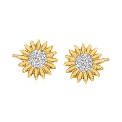 .22 ct. t.w. Diamond Flower Earrings in 14kt Yellow Gold