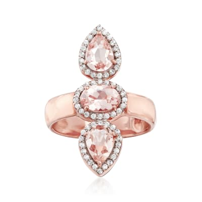 2.00 ct. t.w. Morganite and .30 ct. t.w. White Zircon Frame Ring in 18kt Rose Gold Over Sterling