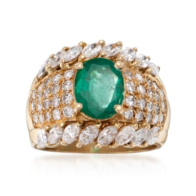 C. 1980 Vintage 1.60 Carat Emerald and 2.45 ct. t.w. Diamond Ring in 18kt Yellow Gold