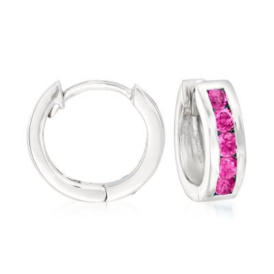 .70 ct. t.w. Pink Topaz Huggie Hoop Earrings in Sterling Silver
