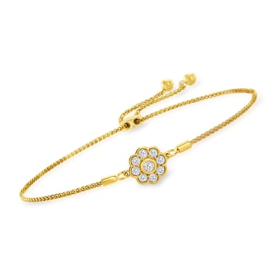.50 ct. t.w. Diamond Flower Bolo Bracelet in 18kt Gold Over Sterling