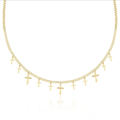 14kt Yellow Gold Dangle Cross Adjustable Necklace