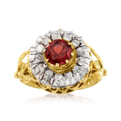 C. 1990 Vintage 1.14 Carat Garnet and .40 ct. t.w. Diamond Ring in 14kt Yellow Gold
