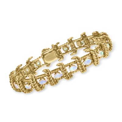 C. 1980 Vintage Opal Rope Bracelet in 14kt Yellow Gold
