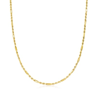 Italian 14kt Yellow Gold 3mm Figarope Chain Necklace