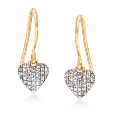 .12 ct. t.w. Diamond Heart Drop Earrings in 14kt Yellow Gold