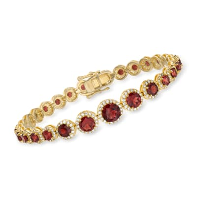11.00 ct. t.w. Garnet and 2.50 ct. t.w. White Topaz Bracelet in 18kt Gold Over Sterling