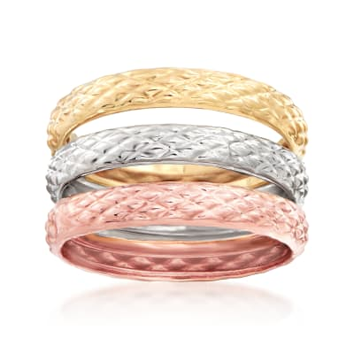 18kt Tri-Colored Gold Jewelry Set: Three Quilted Textured Rings