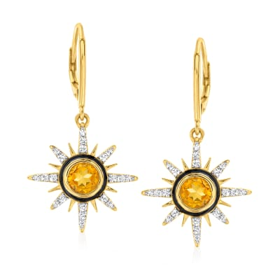 1.40 ct. t.w. Citrine and .60 ct. t.w. White Topaz Sun Drop Earrings in 18kt Gold Over Sterling