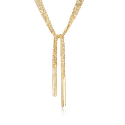 Italian 18kt Gold Over Sterling Silver Mesh Tie Necklace