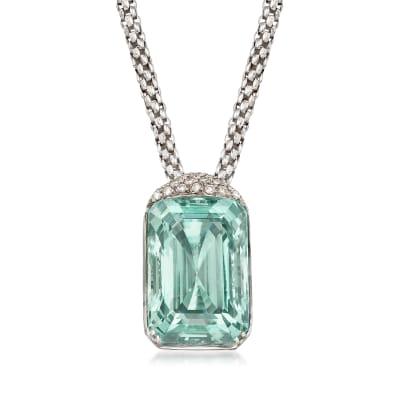 C. 1990 Vintage 75.00 Carat Aquamarine and .55 ct. t.w. Diamond Pendant Necklace in 18kt White Gold