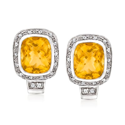 C. 1990 Vintage 9.00 ct. t.w. Citrine and .40 ct. t.w. Diamond Earrings in 14kt White Gold