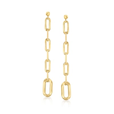 Italian 14kt Yellow Gold Paper Clip Drop Earrings