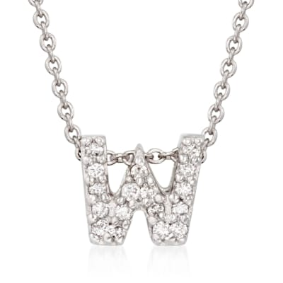 "Roberto Coin ""Love Letter"" Diamond Accent Initial ""W"" Necklace in 18kt White Gold"