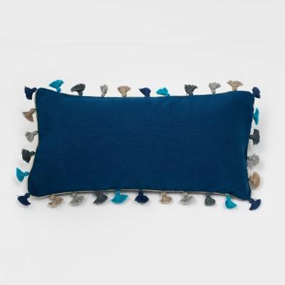 Joanna Buchanan Indigo Linen Tassel Mini Lumbar Pillow