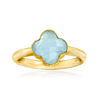 Italian 1.40 Carat Aquamarine Clover Ring in 14kt Yellow Gold