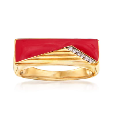 Red Enamel Bar Ring with Diamond Accents in 18kt Gold Over Sterling