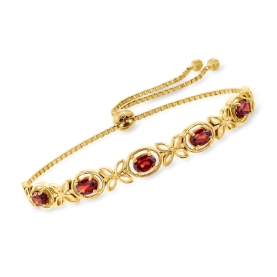 2.50 ct. t.w. Garnet Bolo Bracelet in 18kt Gold Over Sterling