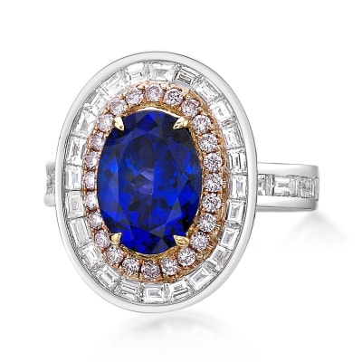 3.25 Carat Tanzanite and 2.26 ct. t.w. Pink and White Diamond Ring in 18kt Two-Tone Gold