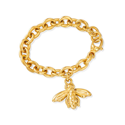 Italian Andiamo 14kt Yellow Gold Over Resin Bumblebee Charm Bracelet