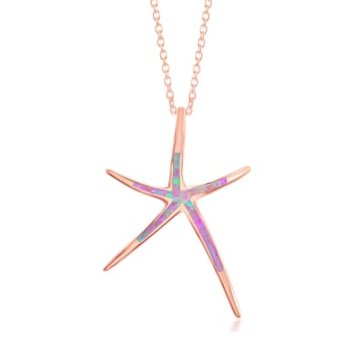 Pink Synthetic Opal Starfish Pendant Necklace in 18kt Rose Gold Over Sterling Silver
