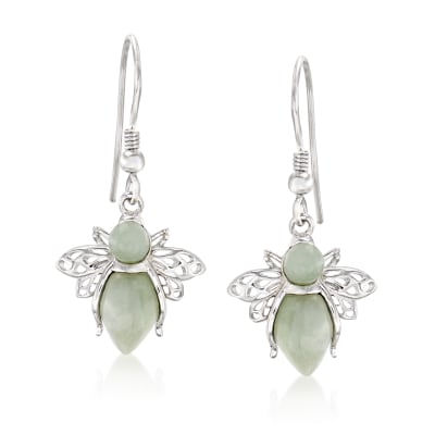 Jade Bumblebee Drop Earrings in Sterling Silver