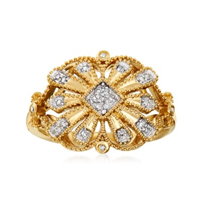.10 ct. t.w. Diamond Openwork Ring in 18kt Gold Over Sterling