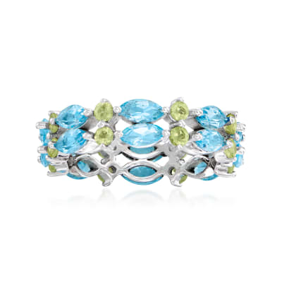 2.80 ct. t.w. Swiss Blue Topaz and .80 ct. t.w. Peridot Eternity Ring in Sterling Silver