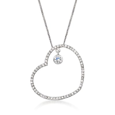 C. 1990 Vintage 1.50 ct. t.w. Diamond Heart Pendant Necklace in 14kt White Gold