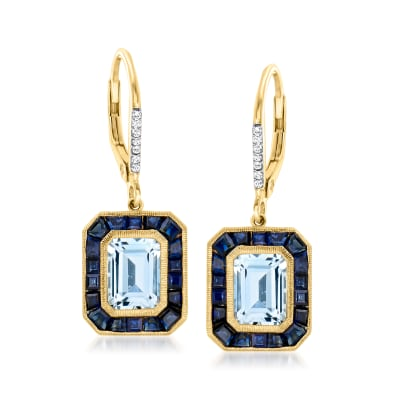 3.20 ct. t.w. Aquamarine and 2.70 ct. t.w. Sapphire Drop Earrings with Diamond Accents in 14kt Yellow Gold